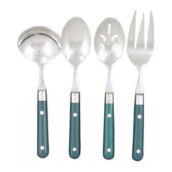 Ginkgo - Le Prix Green 4-Pc. Flatware Hostess Set - Includes 1 pierced serving spoon, 1 serving spoon, 1 cold meat fork and 1 sauce ladle. Increased weight and size. Dishwasher safe. Material: 18/0 Stainless, 13 ChromeThe classic utensil from the fully equipped 1920's picnic basket has been refined , improved and updated to the point where it can grace any sunny deck, any beach location and any dining table. Durable, with full steel tang the length of the handle, which is riveted thought to securely fasten the colored ABS plastic  handles, all capped with a quality stainless steel.