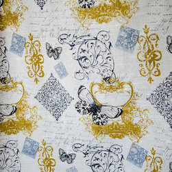 """Butterfly fabric toile French script vintage Paris gold black - A butterfly fabric. A butterfly fabric with toile, French script, and stamps. I saw this and thought """"Phantom of the Opera""""! For those that want a vintage Paris look!"""
