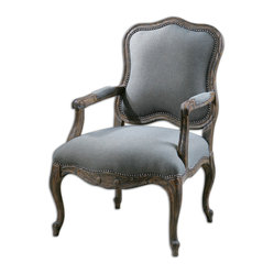 "Uttermost - Willa Steel Gray Armchair - Pine And White Mahogany Frame With Reinforced Joinery, Hand Carved And Hand Finished In An Ash Gray Wash Over Natural Wood Grain. Woven Polyester In Steel Gray And Tan With Individually Hammered Nail Accents. Seat Height Is 20"". Bulbs Included: No"