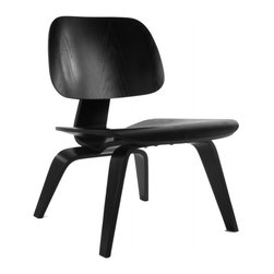 "IFN Modern - Eames Inspired LCW Plywood Chair-Black Veneer - Overall Dimensions: 27.2"" H x 21.6\"" W x 22.4\"" D Heat and Pressure Molded plywood seat and back"