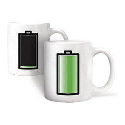 Modern Porcelain White Mug - Add your favorite hot beverage to see energy level of battery rise