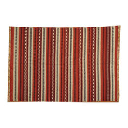 100% Wool Hand Woven Flat Weave Striped Durie Kilim 6'x8' Oriental Rug SH14891 - Soumaks & Kilims are prominent Flat Woven Rugs.  Flat Woven Rugs are made by weaving wool onto a foundation of cotton warps on the loom.  The unique trait about these thin rugs is that they're reversible.  Pillows and Blankets can be made from Soumas & Kilims.