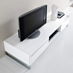 Life-CG180 White High-Gloss Lacquer TV Stand - This TV Stand constructed from MDF lacquered frame in a high gloss White. Two drawers and open compartment complete with a wire cutout will help you maintain order.