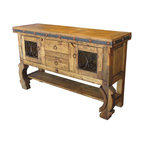 Mexican Artisans - Rustic Spanish Colonial Hutch - Indeed Decor's Rustic Wood furniture is hand-crafted from aged wood with a natural patina. Our Spanish Colonial Rustic Wood & Iron buffet will bring warmth and character to your dining room or kitchen.This rustic  wood & iron buffet features two drawers and two doors, is accented with iron scroll work, iron band with nail heads and rustic hardware.  Hand crafted to last, these exceptional pieces offer a relaxed-living feel balanced by the understated elegance of vintage architectural appeal.  Each piece of well built furniture is destined to become your most beloved family furniture treasures. Each piece is a unique creation, so expect slight variations in size, color and hardware elements.Note:  No two are exactly alike.