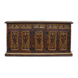 Colonial Sideboard, Distressed Colonial Brown Baroque with Scrolls - Colonial Sideboard, Distressed Colonial Brown Baroque with Scrolls