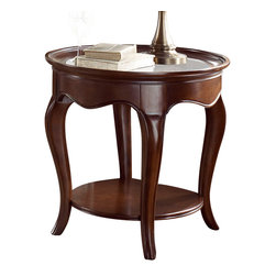 American Drew - American Drew Cherry Grove NG Oval Glass End Table in Brown - Oval Glass End Table in Brown belongs to Cherry Grove New Generation collection by American Drew Cherry Grove New Generation line promises the same timeless quality and appeal with a full line of dining room, bedroom, home office, entertainment and occasional furniture. The line incorporates many elegant curves and graceful movement, and is updated with today's finishes, functionality and style. The inviting mid tone brown finish makes the cherry veneers pop on each piece, along with custom designed hardware. This line takes advantage of vertical space with higher case heights, and maximizes the utility of small spaces with hinged drop leaves on servers and tables. In combination, the collection takes functionality to a lifestyle level and allows urban or scaled-down living spaces to become entertainment areas, making small rooms work like big rooms. The New Generation of Cherry Grove is about honoring tradition while staying on trend.