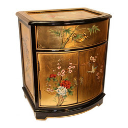 n/a - Oriental End Table Painted Bird and Flower Gold Leaf. - Distinguished Oriental End Table in solid Philippine mahogany. Includes glass top and luxurious felt lined drawer (Inside Drawer 15W X  12D X 3.5H). Meticulously hand painted bird and flower art on top, front and sides and finished in glistening black and rich gold leaf. Fine brass hardware completes this unique piece. Add a touch of Asian warmth and nobility to your living room or bedroom. Dimensions: 20�� wide by 16�� deep by 24�� high, Inside Cab. Dimensions:  16.5W X 14D X 12H