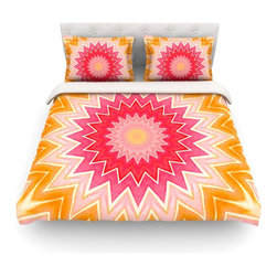"""Kess InHouse - Iris Lehnhardt """"You are my Sunshine"""" Pink Orange Cotton Duvet Cover (Twin, 68"""" x - Rest in comfort among this artistically inclined cotton blend duvet cover. This duvet cover is as light as a feather! You will be sure to be the envy of all of your guests with this aesthetically pleasing duvet. We highly recommend washing this as many times as you like as this material will not fade or lose comfort. Cotton blended, this duvet cover is not only beautiful and artistic but can be used year round with a duvet insert! Add our cotton shams to make your bed complete and looking stylish and artistic! Pillowcases not included."""