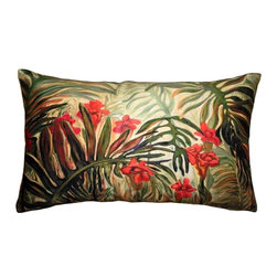 Pillow Decor - Pillow Decor - Jungle of Ferns 12x20 Throw Pillow - Lush green ferns bend and bow across the front of this rectangular 12x20 throw pillow. The colors include deep greens, tans and reds and the pillow has a distinctly subtropical look. The back of the pillow features broad two-toned green stripes. The image is a reproduction from a Sandra Forzani original painting and is available exclusively through Pillow Decor. Enjoy this pillow indoors and outdoors.