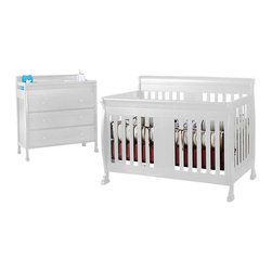 Da Vinci - DaVinci Porter 4-in-1 convertible Crib  and 3-drawer Change in White Including T - Da Vinci - Baby Crib Sets - M8501WM8555Wpkg - DaVinci Porter 4-in-1 convertible Crib in White Including Toddler Rails (included quantity: 1) DaVinci Porter 3-drawer Changer in White