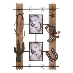 "Benzara - Western Style Wood Metal Wall Photo with Two Photo Frames - Adding great style to your home decor, this wall photo frame displays a trendy and fashionable look upon the walls of your home. Creatively designed, it features two broad wooden planks that are highly polished. Attached to the wooden panel are two photo frames for displaying the cherished images of your loved ones. These gorgeous frames are made of metal and are designed in a unique pattern. Moreover, it is further decorated with adornments of a western outfit that includes a cowboy shoe. The cactus plant, horseshoe and the lasso attached on the photo frame together creates a feeling of the western world and takes your imagination to that far-off land. Provided with two photo frames, it is ideal to insert the photos of a loving couple in a western style. Elegantly crafted with solid wood and high quality metal, it is highly durable and is sure to remain fresh for a longtime..; Creatively designed; Two photo frames for displaying cherished images; Frames are made of metal; Decorated with adornments of western outfit; Weight: 1.1 lbs; Dimensions:17""W x 1""D x 24""H"