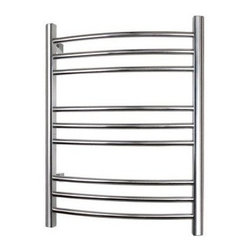 "WarmlyYours - Towel Warmer Riviera Hard-Wire 9-Bar Polished Stainless - The WarmlyYours new Riviera electric towel warmer is manufactured from superior quality stainless steel and comes with a 5-year warranty. The modern curved tubular profile accommodates two large towels and comes in both a polished (TW-R09PS-HW) and brushed finish (TW-R09BS-HW). At 24""W x 32""H, it is lighter in weight, easier to install, and operates at a fraction of the cost of most liquid filled models."