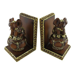 Zeckos - Pair of Balancing Elephant Bookends Wood Finish Gold Accents - Made of cold cast resin, this stunning pair of ball-balancing Indian Elephant bookends doesn't just hold your books up, but adds a touch of style to your room. Measuring 6 inches tall, 4 inches deep, and 3 5/8 inches wide, they have a wonderful wood-like finish, and are hand-painted with gold metallic enamel for a touch of flash. This pair also makes a great present for the holidays or for housewarming gifts. They look great on bookshelves and on top of desks or tables.