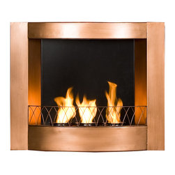 Holly & Martin - Hallston Wall Mount Fireplace, Copper - Enliven any space with this wall mount gel fuel fireplace. This piece is small enough to go anywhere and can be hung as easily as a picture. The copper finish works well with all decorating styles and themes. This wall mount fireplace will hold up to 3 cans of gel fuel providing a rich fiery glow perfect for relaxation. Each can lasts up to 3 hours on a single burn and puts off up to 3,000 BTU's. Gel fuel must be purchased separately. This wall mount fireplace also makes a convenient and unique space for burning and displaying candles simply by placing the included snuffer cover on top of the gel fuel can openings.
