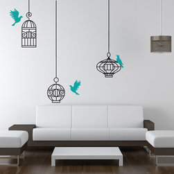 Cherry Walls - Birds & Cages Decal - Even Sylvester the cat would love this one! Elegant, colorful and decidedly modern, this bird and cage design set instantly brings a fresh sense of style to your home. Combine two sets for greater visual impact on your larger walls.