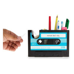 J-Me - Rewind Desk Tidy - This totally awesome desktop caddy is, like, tubular. You've gone from tape player to tape dispenser and if your workday is grody, this will inspire you to take a chill pill and remember how far you've come since your first job at the mall.
