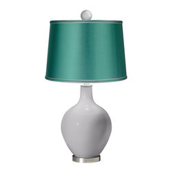 """Color Plus - Contemporary Swanky Gray - Satin Sea Green Ovo Lamp with Color Finial - Bright and bold this designer color Swanky Gray glass table lamp is a fantastic way to add a splash of color to your home decor. The design is hand-crafted by experienced artisans in our California workshops and features a matching color ball finial at the top. The look is finished off with a specially-selected sea green satin drum shade and brushed steel finish accents. Swanky Gray designer glass table lamp. Matching color ball finial. Sea green satin drum shade. Brushed steel finish accents. From the Color + Plus™ lighting collection. Maximum 150 watt or equivalent bulb (not included). 30 1/2"""" high. Shade is 14"""" across the top 16"""" across the bottom 11"""" high. Finial is 2 1/2"""" wide 3"""" high. Base is 6"""" wide.  Swanky Gray designer glass table lamp.  Matching color ball finial.  Sea green satin drum shade.  Brushed steel finish accents.  From the Color + Plus™ lighting collection.  Maximum 150 watt or equivalent bulb (not included).  30 1/2"""" high.  Shade is 14"""" across the top 16"""" across the bottom 11"""" high.  Finial is 2 1/2"""" wide 3"""" high.  Base is 6"""" wide."""