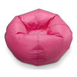 ABC Lifestyle - 21 in. Round Standard Bean Bag in Fuchsia Pet - Twin locking zippers. Can be easily refilled. Wipe clean. 4.5 cube of fill. 90 days warranty. Made from vinyl and polystyrene bead. 21 in. Dia.