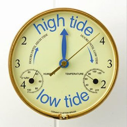 Veranda Time and Tide Clock - Product details - Schedule any activity that hinges on the tide. Features include an accompanying hygrometer and thermometer.