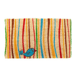 Entryways - Little Groovy Bird Hand Woven Coconut Fiber Doormat - Single Doormat, hand-woven, hand-painted, hand-stenciled, fade resistant, natural coir (coconut fiber), durable, best location is covered area, shake or sweep clean.