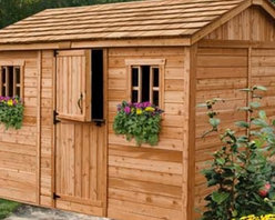 Outdoor Living Today CB128 Cabana 12 x 8 ft. Garden Shed - The Outdoor Living Today CD128 Cabana 12 x 8 ft. Garden Shed is great for storing tools and outdoor supplies but it also makes a great changing room for your backyard pool. Made with attractive sturdy Western red cedar this shed boasts a mahogany veneer on the interior panels a rustic cedar shake roof and cedar-planked double doors that open up 62 inches wide for easy access and usability. Other features include two windows with working screens each with flower boxes for a pleasant natural touch. Assembly is a weekend project for one or two people. One-year limited warranty included.DimensionsExterior: 11.5W x 8.1D x 8.4H feetInterior: 10.9W x 7.6D x 8.2H feetDoor: 2.6W x 6H feet About Cedar WoodCedar wood is lightweight and resistant to both cracking and moisture rot. The oils of this resilient wood guard against insect attack and decay and their distinctive aroma acts as a mild insect repellant. Cedar is a dependable choice for outdoor furniture either as a finished or unfinished wood. Over time unfinished cedar left outdoors will weather to a silvery gray patina. This natural process does not compromise the strength or integrity of the wood.Another great aspect of cedar is its environmental effect - which is minimal. A renewable resource cedar wood emits low greenhouse gases. So rest assured knowing that your beautiful cedar furniture is a green choice too!About Outdoor Living TodayOutdoor Living Today has a simple goal. That goal is to provide the best wood products to the marketplace at the best value. Established in 1974 Outdoor Living Today has a well-earned reputation for making products that are functional durable attractive and affordable. Products are designed so that the average person with limited building skills can assemble them. Gazebos sheds playhouses and pergolas are all uniquely designed and constructed from beautiful Western red cedar.