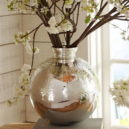 Etched Mercury Glass Vase - This mercury glass vase will hold branches or tulips with equal panache.