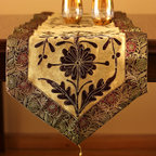 Elegant Table Runners - Hand crafted design. Caramel color. Indian made. Great decor for any table top. Brown Beige Gold