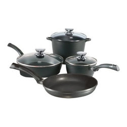 Berndes SignoCast 7-Piece Set - The Berndes SignoCast 7-Piece Set is a reliable cookware set for anyone who loves to cook.Everything you need to create a great meal is included in the Tradition 7-Piece Set; a 9.5 inch skillet a 4.25 quart saute pan with glass lid a 2 quart saucepan with glass lid and a 7 quart stockpot with glass lid. All Berndes cookware is made with superior vacuum-pressure cast aluminum plus the non-stick surface is designed to never chip crack blister or peel. Oils and cooking sprays are not needed so healthy meals are easy to create. The strong plastic resin handles allow for safe transporting of pans.About Berndes.Founded in 1921 Berndes has designed and manufactured high-quality functional and practical cookware. Their products stand out among the rest. Berndes provides consumers with a complete range of cookware including: high-tech non-stick cast aluminum cookware heavy-gauge aluminum non-stick pans clay cookery and stainless steel cookware.The Berndes name is associated with superior quality and innovative cookware available for any taste type and budget. With a sense of responsibility for mankind and the environment Berndes makes sure that environmental protection plays an important role in the corporate policy as they go above and beyond environmental protection laws. The Berndes Environmental Declaration was one of the first in the household goods sectors to be declared valid by Gerling Cert Umweltgutachter GmbH Cologne in 2000.Range Kleen Mfg. Inc. located in Lima OH is the official retail distributor of Berndes brand cookware throughout the United States.