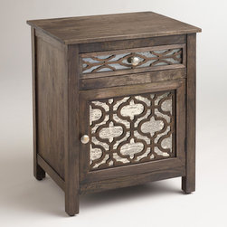 Kiran Antiqued Mirror Cabinet - This darling cabinet perfectly combines rustic appeal and a dash of shine. Use a pair as nightstands and accessorize them with similar antique mirror finishes to soften the room.