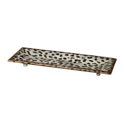 Uttermost - Malawi Tray - Tap into your inner feline fiesta frenzy with this cheetah print tray. A burnished cat print over a ceramic base is fun way to serve tapas, hors d'oeuvres or canapés.