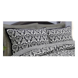 None - Rockwell Quilted Sham (Set of 2) - These designer shams in black and white will enhance any decor. Made with cotton and polyester,these shams are comfortable and conveniently machine washable.