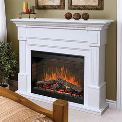 "Dimplex - Sussex White Electric Fireplace Mantel Package - SOP-272-W - Sexy and chic, the Dimplex Sussex White Electric Fireplace Mantel Package has a 30"" wide viewing area equipped with the patented Purifire air cleaning system that removes allergens from the air to make your living room, well, more livable. This Dimplex wall fireplace also has some of the most realistic flames available in the industry today thanks to the artificial logs and glowing embers in the firebox, completely adjustable. They employ a slow start technology and fading pattern to add to the illusion. At it's highest setting, the output is 5k BTUs, but can be adjusted to suit your preferences."