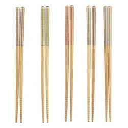 Set of 5 Striped Bamboo Chopstick Pairs - Narrow stripes and tips in five different colors decorate the handles of these eco-friendly reusable chopsticks, with ringed tips adding a surer grip on foods.