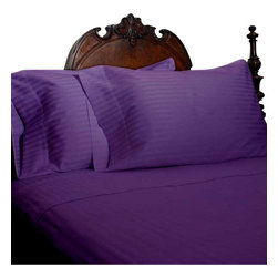 SCALA - 1000Tc Stripe King Size Purple Color Sheet Set - We offer supreme quality Egyptian Cotton bed linens with exclusive Italian Finishing. These soft, smooth and silky high quality and durable bed linens come to you at a very low price as these come directly from the manufacturer. We offer Italian finish on Egyptian cotton, which makes this product truly exclusive, and owner's pride. It's an experience and without it you are truly missing the luxury and comfort!!