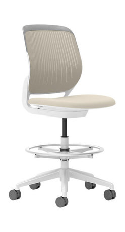 Steelcase - Steelcase Cobi Stool, White Frame & Standard Casters, Coconut - Static Motion. When you need to sit and move at the same time, this rolling stool is perfect. It lets you swivel 360 degrees, adjust the height as you like, and of course, roll with whatever changes come up throughout your day.