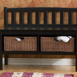 Holly & Martin - Holly & Martin Brazos Black Bench w Brown Rat - Tall Painted black finish w Brown Rattan Baskets. Fits perfect under most windows. Made of MDF w Solid Rubberwood Legs. Black Paint Finish. Some assembly required. 36 in. W x 14. 25 in. D x 28. 5 in. H. This low-profile contemporary black storage bench goes well at the end of a bed, in a bathroom, entryway, or living room. Finished in satin black, this bench is built with an all-wood construction and has two rattan baskets perfect for storing all your necessities. The seat back is symmetrically lined with vertical slat braces and the sides are open for a sleek styling. Each of the two baskets measures 12 in. deep, 15 in. wide, and 7 in. tall while the seat itself measures 12. 5 in. deep and 36 in. wide. This simple slender design is sure to provide a convenient seat without taking up too much precious space in your home.
