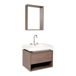 "Fresca - Fresca Potenza Gray Oak Vanity w/ Pop Open Drawer - Dimensions of vanity:  27.38""W x 20.38""D x 23""H. Dimensions of mirror:  20.5""W x 27.5""H x 5.25""D. Materials:  MDF with acrylic countertop/sink with overflow. Widespread faucet mount (8""). P-trap, faucet, pop-up drain and installation hardware includedIntriguing geometric design is tied together perfectly for this vanity, which includes a beautiful widespread chrome faucet and a matching mirror.  Really great for anyone looking to outfit their space with something classy in a wood finish, fitting in anywhere with little fuss with understated elegance."