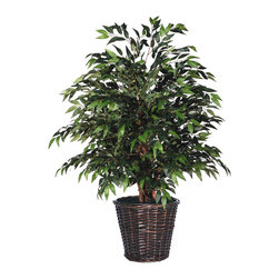 Vickerman - 4' Green Smilax Extra Full - 4' Green Smilax Extra Full Bush on three or more Dragonwood trunks. Dark brown Rattan container. American made excelsior