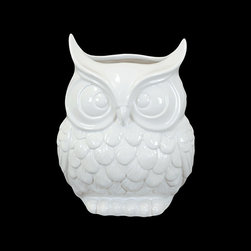 Ceramic Owl Vase - Place an owl in your home for a decorative touch that is perfectly on trend. Perfect for the living room, bedroom, or bookshelf, this owl will watch over your house.
