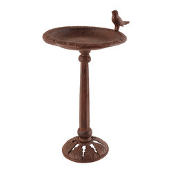 None - Esschert Design Cast Iron Birdbath on Stand - This cast iron birdbath,in an antique bronze finish,creates a welcome resting spot for birds in your backyard with its raised leaf patterned rim and fun bird sculpture. Its faceted pedestal and leaf-patterned base support the bowl easily.
