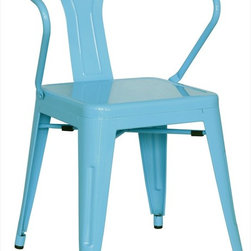 Chintaly Imports - Alfresco Galvanized Steel Side Chair in Sky Blue - Set of 4 - Alfresco Galvanized Steel Side Chair in Sky Blue - Set of 4