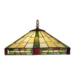 Meyda - Meyda Tiffany Wilkenson Three-Light Pendant - This Classic Wilkinson Stained Glass Shade Features Ruby Glass Square and Triangular Jewels That Accent Cerise Red Streaked Forrest Green Bands On A Warm Beige Background. This Handsome Shade is Handcrafted Using The Copper Foil Technique Invented By Louis Comfort Tiffany. The Pendant Shade is Suspended From Chain and Canopy That is Hand Finished In A Warm Mahogany Bronze. Meyda Tiffany was founded when Meyer Cohen was asked by his wife Ida (whose names were combined into the company name Meyda) to build a stained glass window in their kitchen so they wouldn't have to look at the vintage cars in their neighbor's driveway. What began as a hobby evolved into America's leading and oldest manufacturer of custom and decorative lighting. Today Meyda is still a family-run business with the Cohens' son Robert at the helm. Features include Theme: Deco Art Glass Family: Wilkenson Every Meyda Tiffany item is a unique handcrafted work of art. Natural variations in the wide array of materials that they use to create each Meyda product make every item a masterpiece of its own. Photographs are a general representation of the product. Colors and designs will vary.. Specifications Number Of Bulbs: 3 Bulb Wattage: 60 Bulb Type: Medium Base.