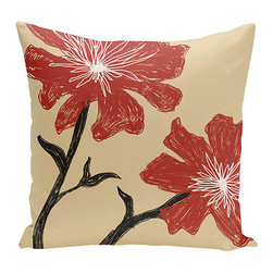 e by design - Floral Red and Beige 18-Inch Cotton Decorative Pillow - - Decorate and personalize your home with coastal cotton pillows that embody color and style from e by design   - Fill Material: Synthetic down  - Closure: Concealed Zipper  - Care Instructions: Spot clean recommended  - Made in USA e by design - CPO-NR16-Ginger_Dragon-18