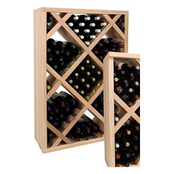 Wine Cellar Innovations - 4 ft. Diamond Bin Wine Rack (Rustic Pine - Dark Walnut Stain) - Choose Wood Type and Stain: Rustic Pine - Dark Walnut Stain. Bottle capacity: 108. Versatile wine racking. Custom and organized look. Decorative face trim adds to the sturdy appearance and is a finishing detail. Trim needs to be cut to fit on site. Can accommodate just about any ceiling height. Optional base platform: 32.88 in. W x 13.38 in. D x 3.81 in. H (5 lbs.). Wine rack: 32.88 in. W x 24.93 in. D x 47.19 in. H (11 lbs.). Vintner collection. Made in USA. Warranty. Assembly Instructions. Rack should be attached to a wall to prevent wobbleDiamond Bins organize case wine storage in an attractive, popular, and practical style.. Rack should be attached to a wall to prevent wobble