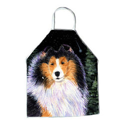 Caroline's Treasures - Starry Night Collie Apron - Apron, Bib Style, 27 in H x 31 in W; 100 percent  Ultra Spun Poly, White, braided nylon tie straps, sewn cloth neckband. These bib style aprons are not just for cooking - they are also great for cleaning, gardening, art projects, and other activities, too!