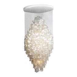 """ecofirstart - """"Fun"""" Series 8DM ceiling fixture - Quite possibly the only thing more decadent than a chandelier is one crafted of opulent mother-of-pearl discs, cascading in the breeze. This fixture is absolutely stunning, pairing light with air and shimmering reflection to yield a most breathtaking addition to your entryway or dining room."""