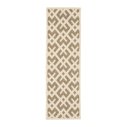 Safavieh - Safavieh Indoor/ Outdoor Courtyard Brown/ Bone Rug (2'4 x 14') - Constructed out of durable polypropylene for both indoor and outdoor use,this brown runner rug offers a timeless design to complement your home's decor. This contemporary rug features a tan-and-brown geometric design for eye-catching appeal.