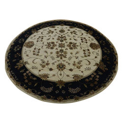 Round Rajasthan Rug, Floral Design Wool And Silk 9'X9' Hand Knotted Rug SH10626 - Agra & Rajasthan Hand Knotted Rugs have Persian inspired floral motifs.  They are hand knotted from India and usually consists of 100% Wool.  The colors usually consists of Blacks, Deep Reds, Browns, & Greens.
