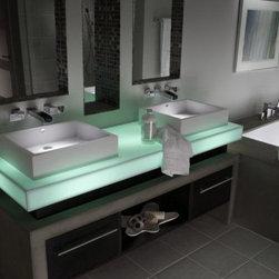 Illuminated vanity in Corian® Mint Ice. - Photo by Dupont