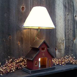 Rustic Barn Lamp - Where do I begin? First, it's a cute little barn (which I love). Second, there's an electric candle inside (no burning the house down) that can be lit independently for a nightlight, or in conjunction with the actual lamp bulb for a bright glow!